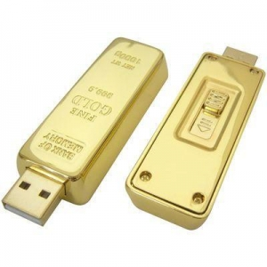 China Gold Bar USB Flash Drive Gold Brick Pen Drive 64GB Memory Stick Capless Gold Bullion Flash Stick on sale