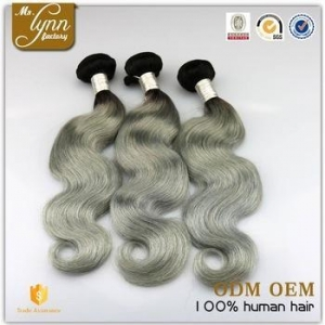 China Brazilian gray human hair, ombre 1B/grey human hair weaving for brading on sale