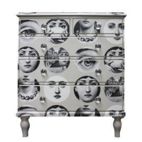 Living Room Fornasetti Faces Chest Of Drawers