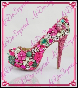 China Aidocrystal New arrival african ladies party shoes high heel pumps shoes for wedding on sale