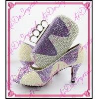 Aidocrystal handmade fashion pearl african shoes with finger clutch bag/italian party shoes and bags