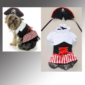 China Pet Costume Halloween Pirate Pet Dog Costumes Supplier on sale