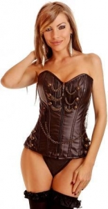 China Sexy Corsets Steel Boned Streampunk Vegan Leather Corset(2 Colors) Item NoE2854 on sale