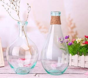 China Wholesale handmade mouth light blue crystal glass decoration creative table flower vase on sale