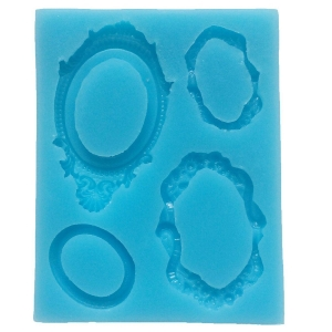China Sugarcraft Assorted Vintage Oval Mirror Frames Silicone Mold, Non Stick Sugar Paste on sale