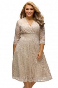 China Best Sellers Apricot Plus Size Surplice Lace Formal Skater Dress on sale