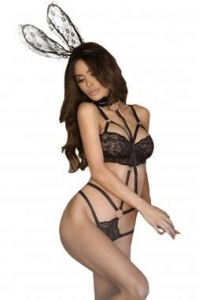 China New Arrivals 3pcs Roleplay Bunny Lace Playsuit with Collared Leash on sale