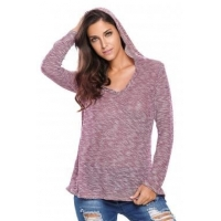 China New Arrivals Burgundy Hooded V-Neck Long Sleeve Loose Knitted Top on sale