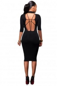 China New Arrivals Black Bodycon Mock Neck O-ring Accent Cut out Half Sleeve Midi Dress on sale