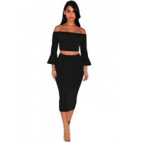 New Arrivals Black Ribbed Knit Bell Sleeves Two Piece Set