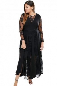 China New Arrivals Black Sheer Long Sleeve Pleated Maxi Dress on sale