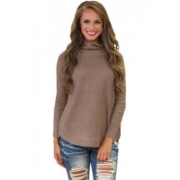 New Arrivals Khaki High Neck Pullover Side Zipped Sweater Top