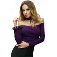 New Arrivals Purple Long Sleeve Off Shoulder Choker Bodysuit