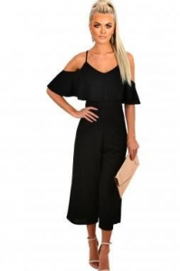 China New Arrivals Black Frill Culotte Jumpsuit on sale