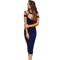 China New Arrivals Navy Blue Cut Out Off Shoulder Mock Neck Bodycon Bandage Dress on sale