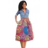 New Arrivals Vintage High Waist Africa Print A-lined Midi Skirt