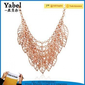 China European Exaggerated Rose Gold Multi Hollow Leaf Costume Jewelry Necklace on sale