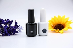 China Round White and Black Nail Polish Gel Bottle with Open Window Hole on sale
