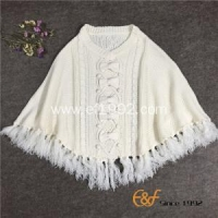 China Ladies Crew Neck Tassels White Sweater Cape with Bowknot on sale