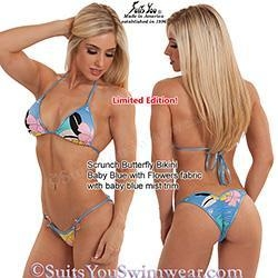 China Limited Edition Bikinis Cute Blue Flower Bikini, scrunch butterfly bottom on sale