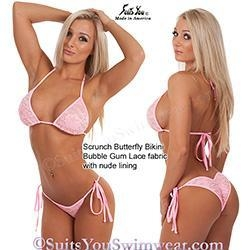 China Custom Competition Bikinis Pink Lace Swimsuit, Bubble Gum Lace, nude lining on sale