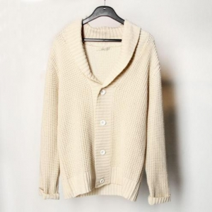 China Men's Hoodie Heavy-knit Cardigan Sweater in Cotton on sale