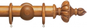 China Advent 47mm Traditional Wood Curtain Pole, Light Oak, Ornamental Urn on sale