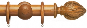 China Advent 47mm Traditional Wood Curtain Pole, Light Oak, Leaf & Berry on sale