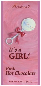 China Bulk It's A Girl Pink Hot Chocolate Packets on sale