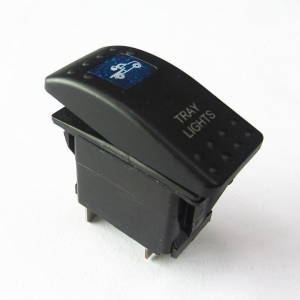 China 5P 12V 20A Blue LED Tray Light Rocker Push Button Toggle Switch on sale