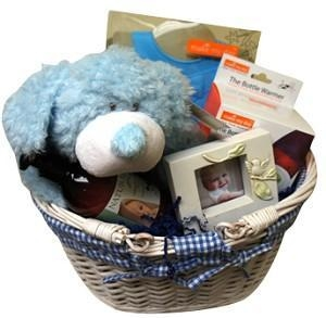 China Gift Baskets Lrg Gingham Baby Boy on sale