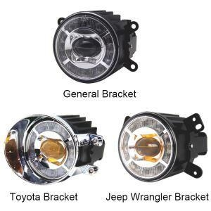 China E-mark / DOT Approved Round Universal LED Amber / White Halo Fog Lights Assembly for Jeep Wrangler / on sale