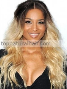 China Ciaria Ombre Color Black and Blonde Wavy Celebrity Hairstyles Human Hair Lace Wigs on sale