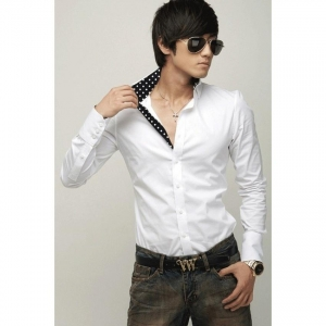 China Mens Casual Slim Fit Stylish Shirts Blouse 3 color 3 size (Black) (Intl) - intl on sale
