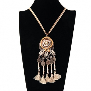 China Korea Velvet Chain Necklace With Sea Shell And Cotton Tassel And Wood Bead Pendant on sale