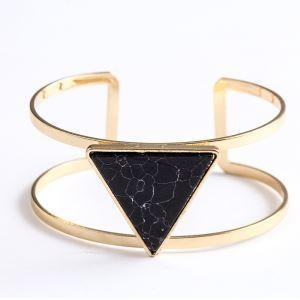 China Trendy Geometric Doub... Trendy Geometric Double Layer Round Plated Gold Cuff Bracelet With Stones on sale