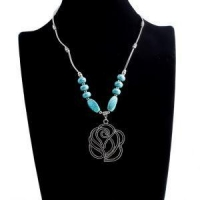 New Fashion Hot Geometric Solid Blue Stone Turquoise Pendant Necklace