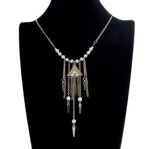 China Popular White Beads Chain Triangle Tassel Necklace on sale