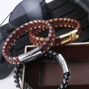 China Handmade Male Design Stainless Steel Buckle Leather Wrap Bracelet on sale