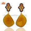 China Semi-Precious Gemstone Gold Vermeil Earrings for sale