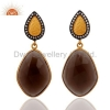 China Smoky Quartz 925 Silver Earring for sale