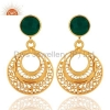 China Green Onyx 18k Gold Plated Earrings for sale