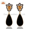 China Black Onyx Sterling Silver Earrings for sale