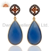 China Blue Chalcedony Bezel Set Earrings for sale