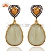China Lemon Topaz Gold Plated Silver Earrings for sale