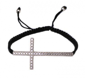 China Sterling Silver Macrame Cross Bracelet-2 on sale
