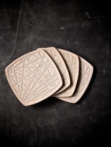 China New Bubbly Black Handmade Leather Coaster on sale