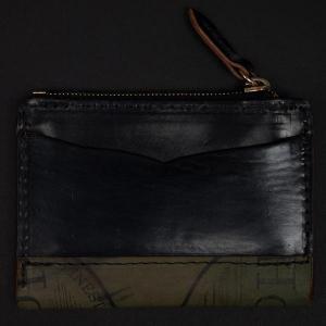 China LAULOM BLACK HORWEEN SHELL CORDOVAN SLIM ZIP CARD WALLET on sale