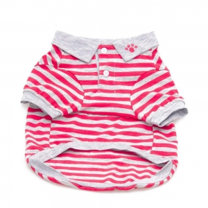 China Red Stripe Polo Dog Shirt on sale