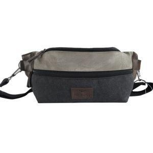 China Stylish Fanny Pack Canvas With Leather Waist Bag Waist Money Bag For Men on sale